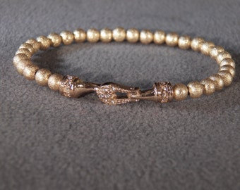 Vintage Yellow Gold Tone Multi Round Bead Detailed Rhinestone Hook Design Center Medallion Bracelet