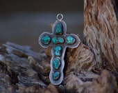 Vintage Signed Handmade Native American Silver and Turquoise Cross