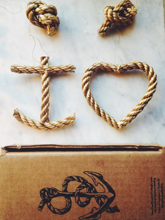 Nautical Anchor Heart & Knot Decoration by CapePorpoiseTrading