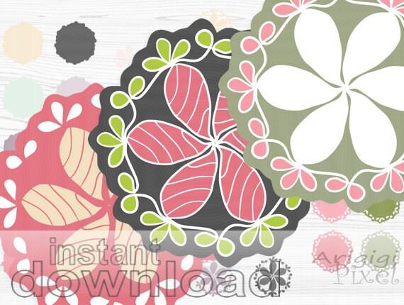 Digital flourish doily clip art mix and match frames, spring flower ornaments pink green scrapbook elements download