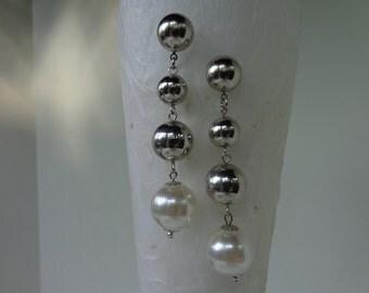 Retro Dangle Earrings, Silver Statement Dangle Earrings, Silver Stud Earrings, Silver Art Deco Earrings, Silver Long Dangle Earrings