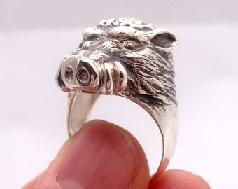 Wild pig ring, silver wild boar, sterling silver animal ring, ring silver, animal jewelry