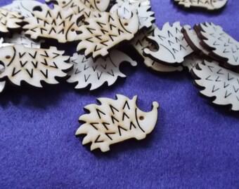 10 hedgehogs, wood, 4 x 2.5 cm (10-0029A)