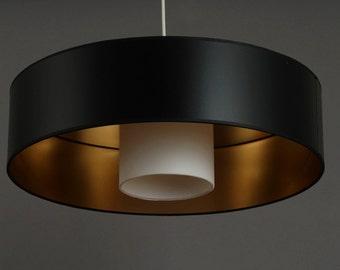 Ceiling Lamp  black / gold Kabuki Diameter 50 Height 13 cm Handmade