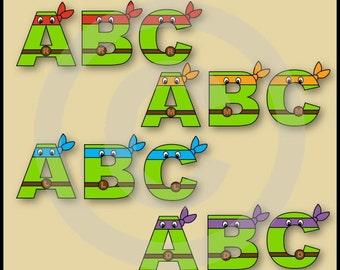 All (TMNT) Ninja Turtles Alphabet Letters & Numbers Clip Art Graphics