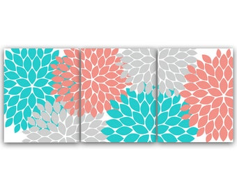 Home Decor Wall Art Instant Download Grey Coral Teal Flower Burst Art Bathroom Wall