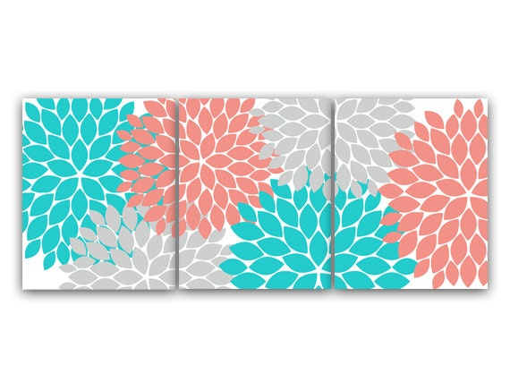 Wall Art Prints Download : Home decor wall art instant download grey coral teal flower