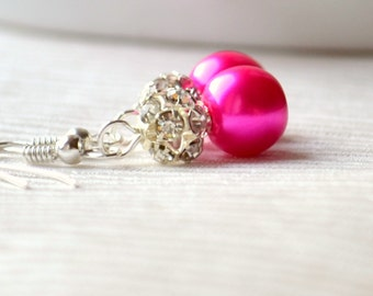 Fuchsia pink Bridesmaids earrings with rhinestones Bridesmaids jewelry Flower girl jewely Fuchsia pink wedding Pink Bridesmaids gift