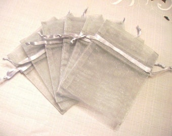 """100pcs - 4 x 6"""" Light Silver Organza Bags - Great for wedding favors, sachets, jewelry pouches"""