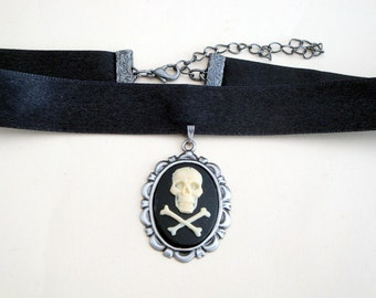Pirate choker skull and crossbones cameo necklace on black ribbon