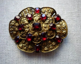 Vintage Large Floral Brass Red Rhinestone Brooch Pin