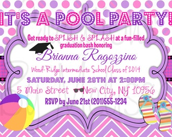 Pool Party Custom Graduation (ANY occasion!) Invitation Digital File * PRINTING AVAILABLE - See Description!