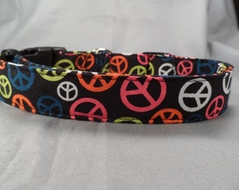 Neon Peace Signs on Black Dog Collar