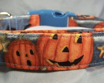 Smiling Pumpkins on Blue Halloween Dog Collar