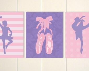 Baby girl nursery, ballerina wall art, girls ballerina room, ballet art, dance art, baby girl nursery, set of 3 prints
