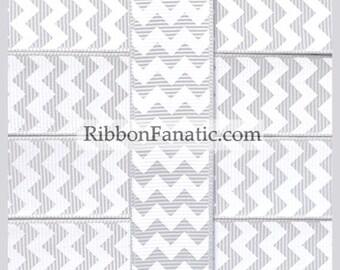 "5 yds  Yards 7/8"" Gray  Grey and White Chevron Striped Grosgrain Ribbon"