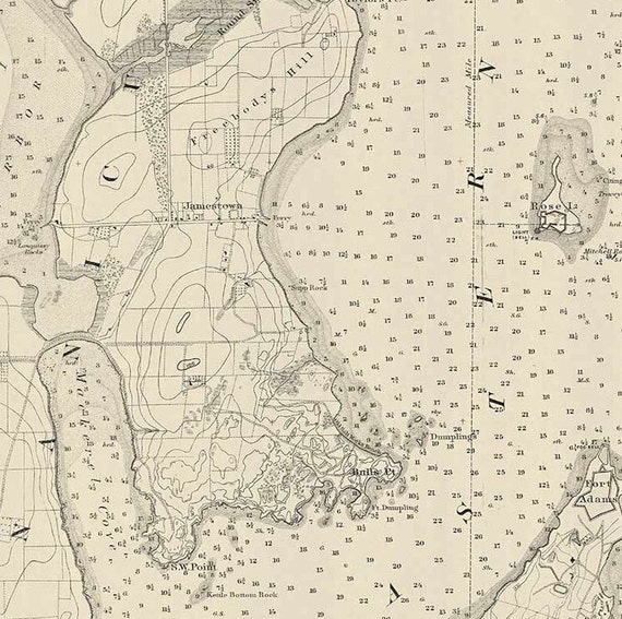 Newport Harbor RI 1891 Nautical Map By The USCGS Reprint