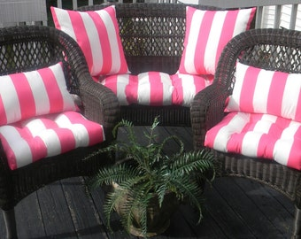 Wicker Cushion and Pillow 7 Pc Set - Preppy Pink & White Stripe Indoor Outdoor Fabric