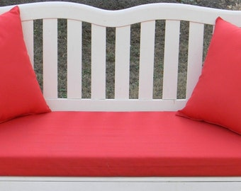 """Indoor / Outdoor Foam Swing Bench Cushion 50 1/2"""" X 19"""" & Two Matching 17"""" x 17"""" Throw Pillows - Choose Solid Color"""