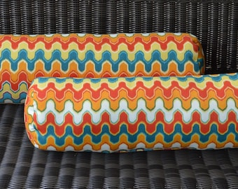Set of 2 Geometric Flame Red Orange Teal Yellow Bolster Neckroll Outdoor Pillows