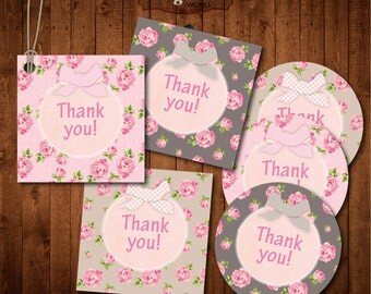 """Instant  download Shabby Chic Thank you Tags. Digital Printable 2""""x2""""inch"""