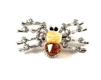 Exclusive Baltic Amber Brooch Honey Butter Metal 8 g