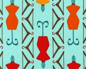 HALF YARD SEWING Dress Forms Dressmaker's Dummy Novelty Quilting Cotton - Robert Kaufman - Cut and Sew Retro Blue Aqua