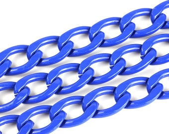 3ft Blue Chain, Twisted Curb Chain, Aluminum Chain, 15x22mm, CB001.BL