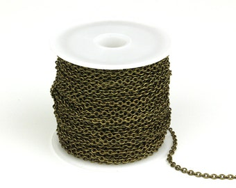 30ft Spool of Oval Chain, 2.3x2.7mm Brass Chain, Antique Bronze Soldered Links Chain, CB015.AB