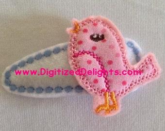 Sweet Vintage Bird Embroidery Feltie Design Instant Download