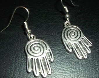 Silver Hasma earrings- double sided--sugarbearproductions, rubber stoppers included. gift wrapped, swirly palmed, swirl,