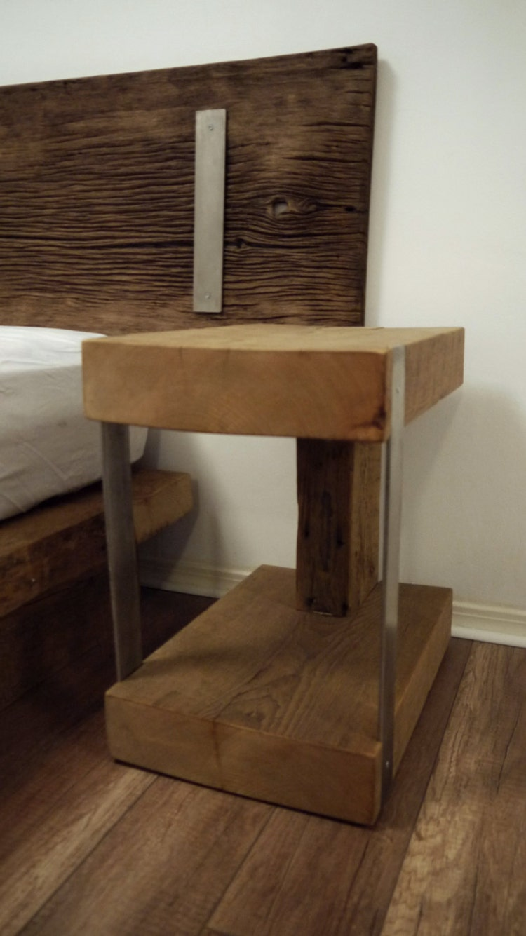 Night stand reclaimed wood and metal bedside by ticinodesign for Wood and metal bedside table