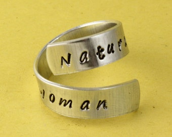 SALE - Natural Woman Wrap Twist Ring - Personalized Ring - Adjustable Aluminum Ring - Hand Stamped Ring