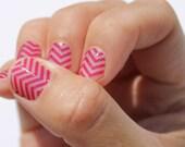 Raspberry Chevron Transparent Nail Wraps