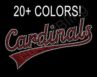 Rhinestone Iron-On Transfer Cardinals Bling - Baseball, Mom, Grandma, Sister, # Many Colors!