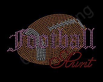 "Rhinestone Iron On Transfer ""Football Aunt"" Sports Crystal Bling Design - Make Your Own Shirt!"