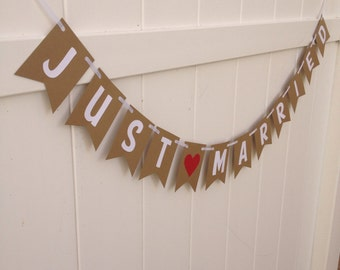 Just Married Banner- Wedding, red heart