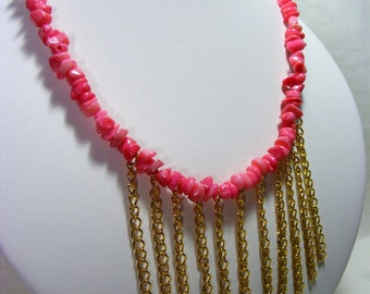 Pink Coral Chain Necklace