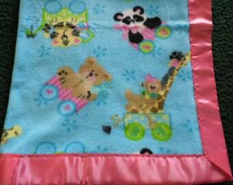 Baby Animals Fleece Baby Blanket with Pink Satin Trim...Single Fleece