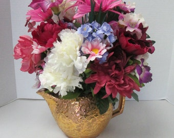 Floral centerpiece and arrangement  Recycled Vintage weeping gold ceramic teapot