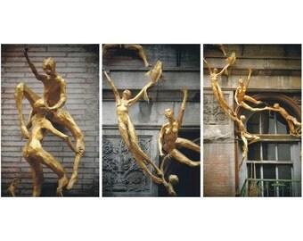 Set of 3 Golden Angels - N Y City Street Art - figurative - Gold Sculptures -  Balcony - Wall - Window - Balcony Art - NY Soho - NYCityscape