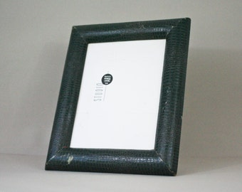 french vintage green leather photo frame