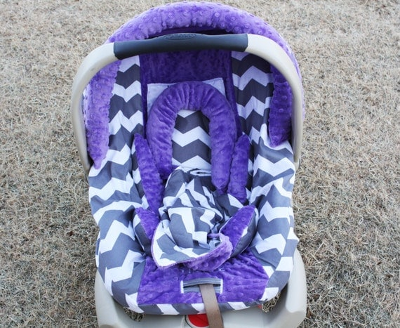 items similar to gray and white chevron with purple minky infant car seat cover set on etsy. Black Bedroom Furniture Sets. Home Design Ideas