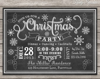 Chalkboard Christmas Party Invitation - Snowflakes and Holly  - Personalized Digital Custom Invite 4x6 or 5x7 jpg or pdf