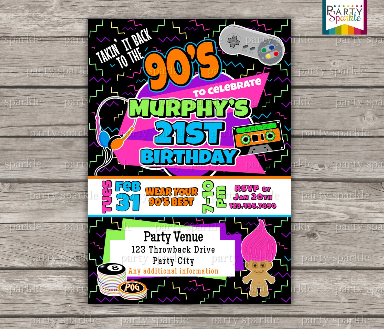 Takin It Back To The S Retro Birthday Invite Personalized - Retro birthday invitation template