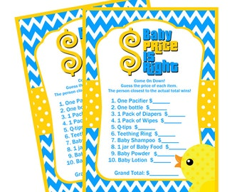 Rubber Duck Baby Price is Right Game, Instant Download  - Digital File