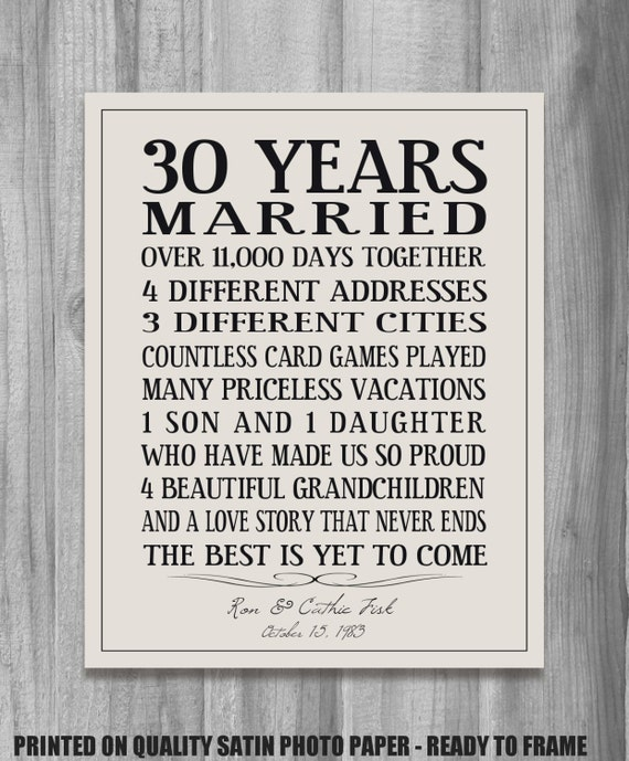 Funny 30th Anniversary Quotes: Personalized Anniversary Gift Our Story Time Line Family Life