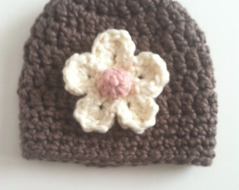 Organic cotton crocheted baby hat, Crocheted baby hat, Handmade crocheted baby hat for little girl