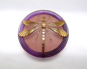 Hand Made Art Czech Glass Cabochon with Dragonfly Pink-Purple - Gold  size 18'', 40.5mm 1 pc (BUT15045/18)