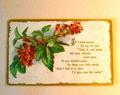 Vintage Romantic Post Card, Unused, Embossed